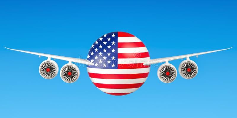 Amerikaanse luchtvaartlijnen en het vliegen ` s, vluchten aan het concept van de V.S. 3D rende royalty-vrije illustratie