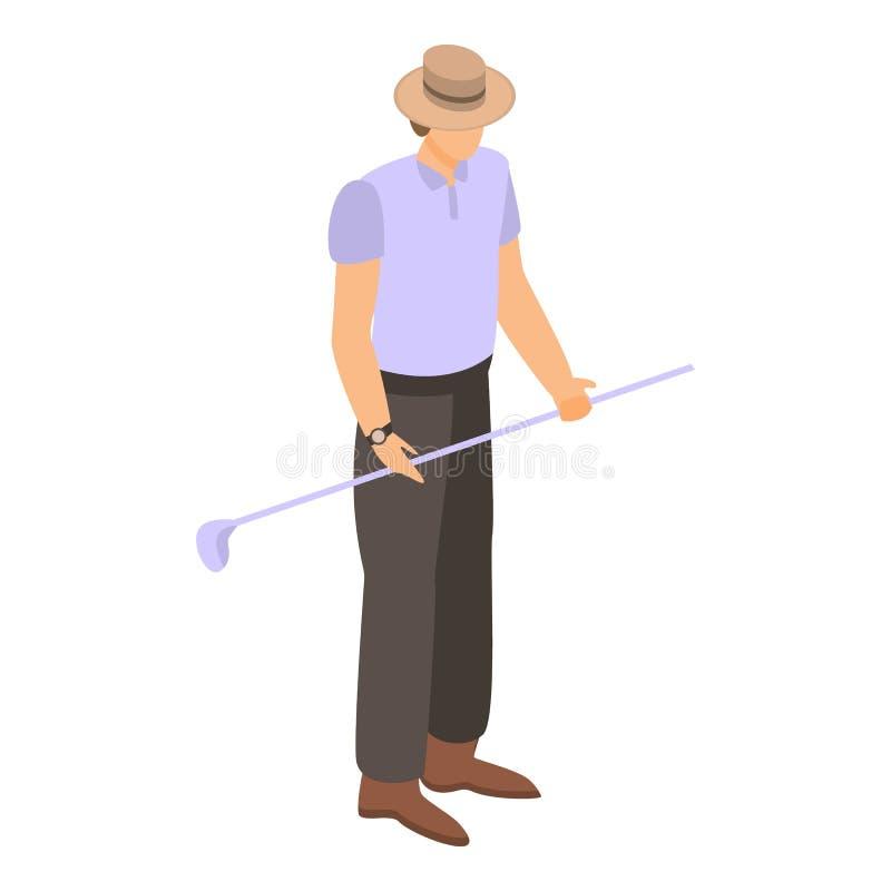 Amerikaanse mens met het pictogram van de golfstok, isometrische stijl vector illustratie