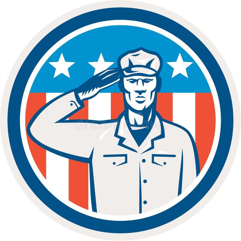 Amerikaanse Militair Retro Salute Flag Circle stock illustratie