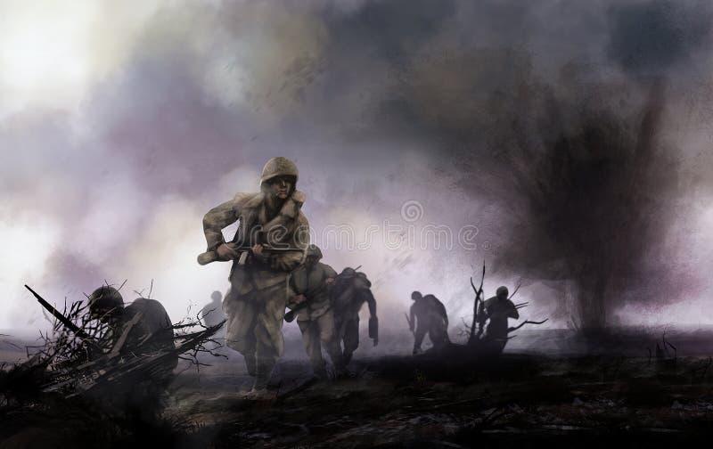 Amerikaanse militairen op slagveld royalty-vrije illustratie