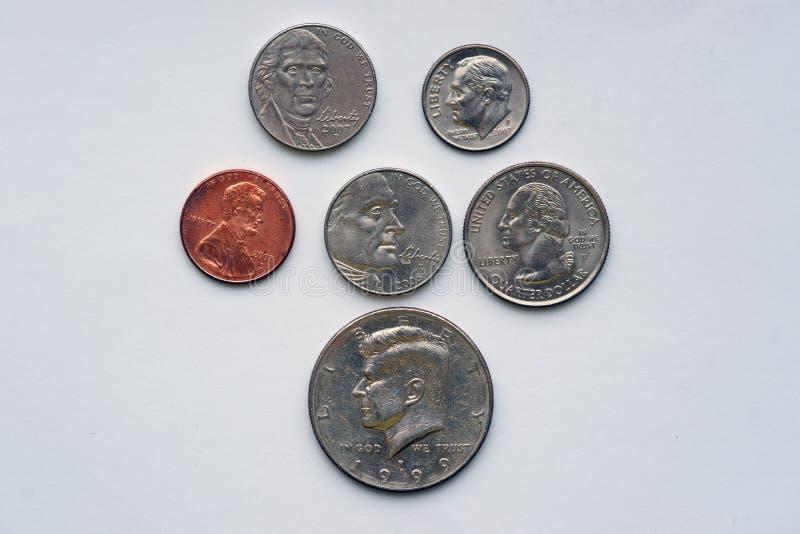 Amerikaanse muntstukken met portretten royalty-vrije stock afbeelding