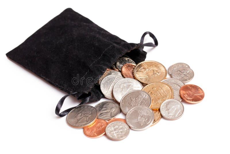 Amerikaanse muntstukken op witte achtergrond royalty-vrije stock afbeeldingen
