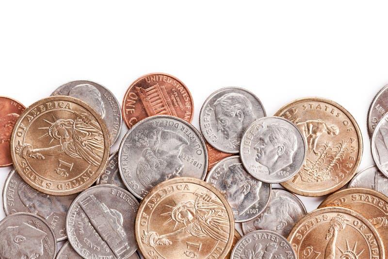 Amerikaanse muntstukkenachtergrond stock foto's
