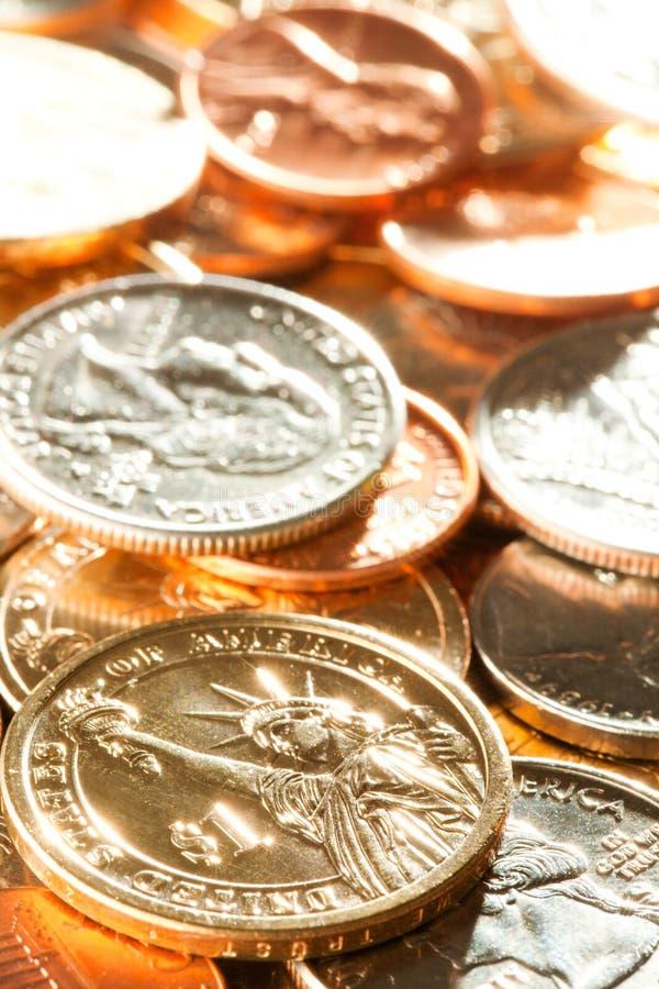 Amerikaanse muntstukkenachtergrond royalty-vrije stock fotografie