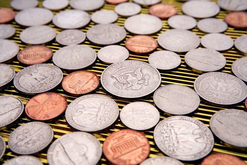 Amerikaanse muntstukkenclose-up stock foto's