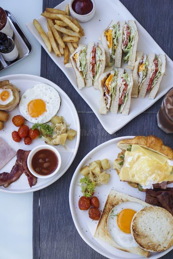 Amerikaanse Ontbijt en Sandwich stock afbeelding