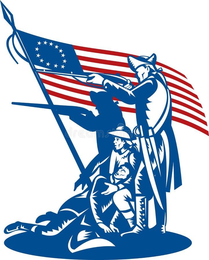 Amerikaanse patriotten die vlag bestrijden vector illustratie