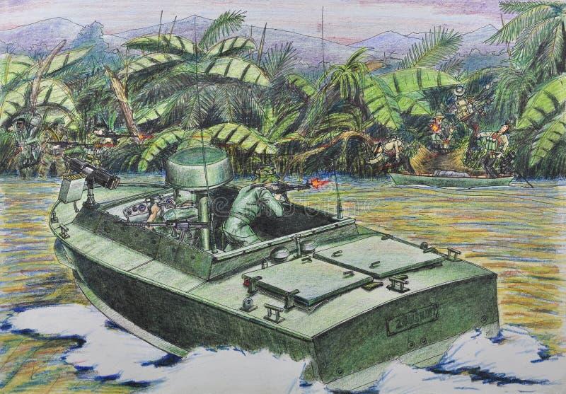 Amerikaanse patrouille in gevecht met Vietnamese guer stock illustratie
