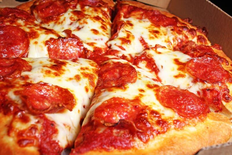 Amerikaanse pizza met partij van levering van het kaas de heerlijke vette snelle voedsel royalty-vrije stock foto