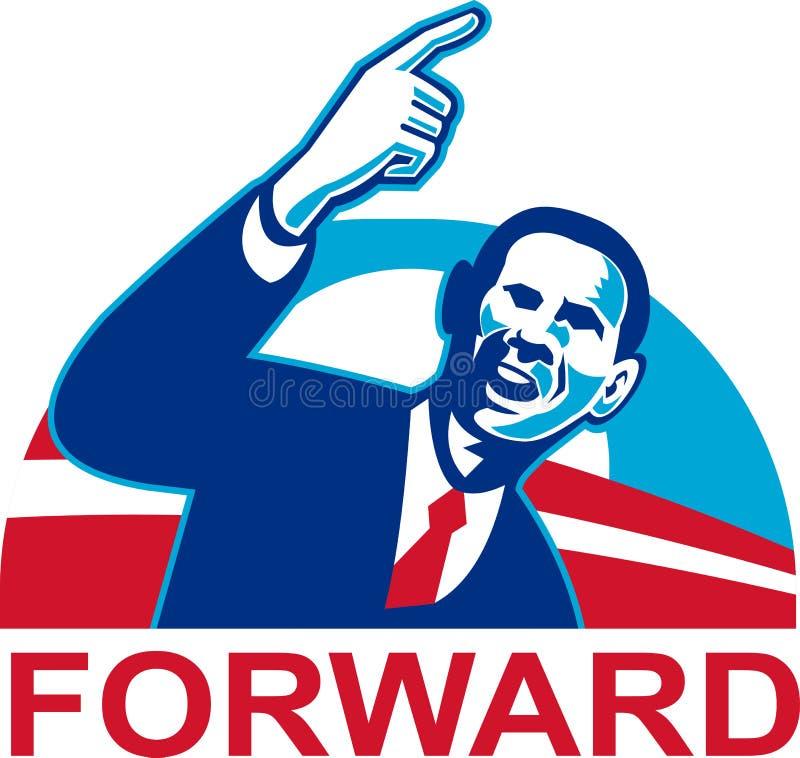 Amerikaanse President Barack die Obama vooruit richt royalty-vrije illustratie