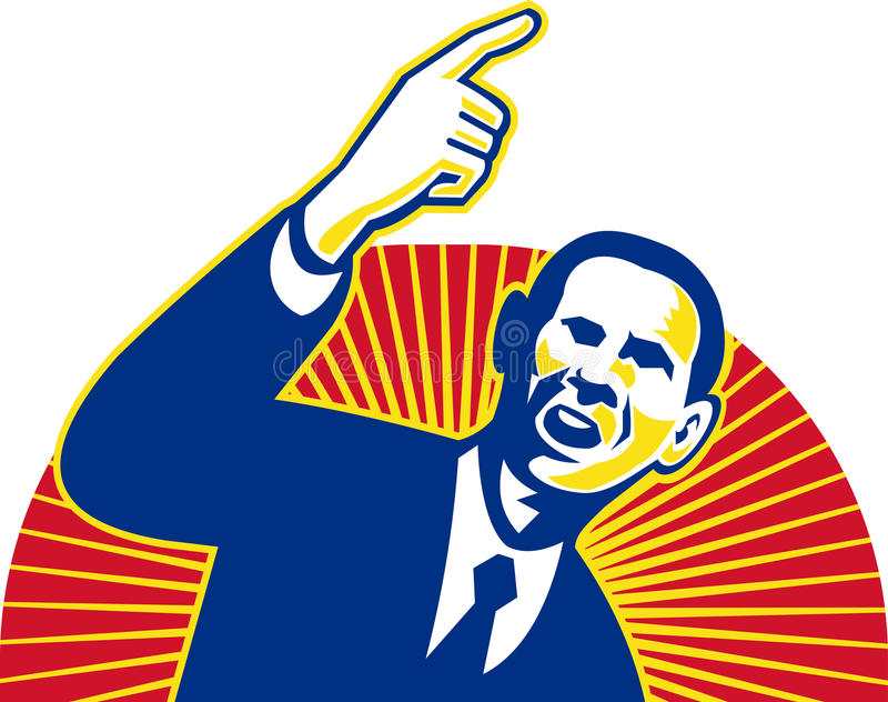 Amerikaanse President Barack die Obama vooruit richt stock illustratie