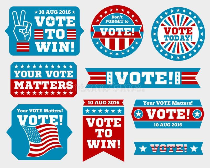 Amerikaanse presidentsverkiezing 2016 kentekens en stemetiketten royalty-vrije illustratie