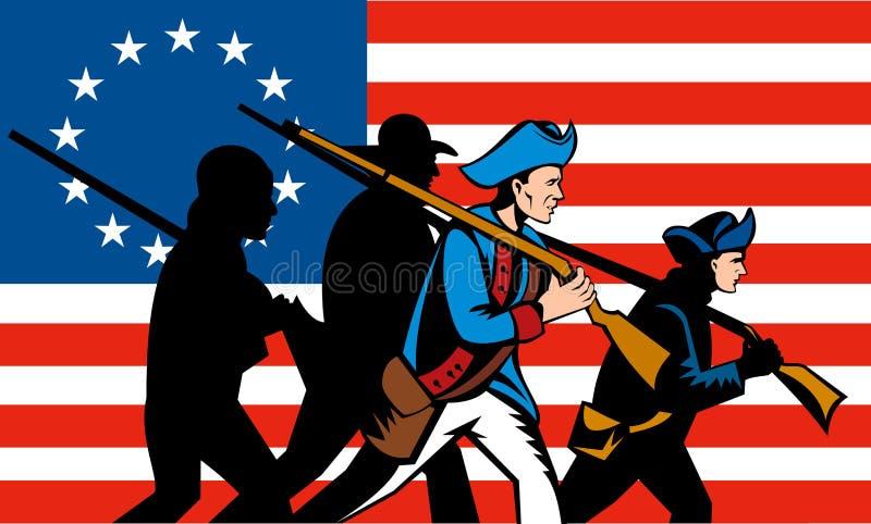 Amerikaanse revolutie met vlag stock illustratie