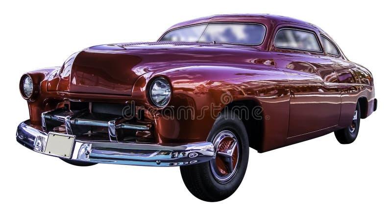 Amerikaanse rode klassieke die auto op witte achtergrond met workp wordt geïsoleerd stock afbeeldingen