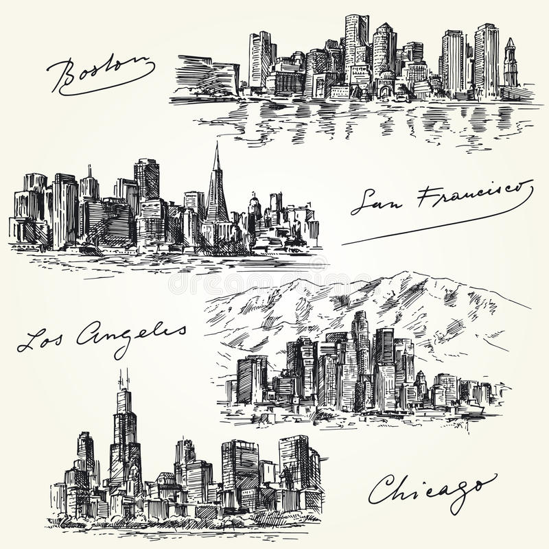 Amerikaanse stedenhorizonnen royalty-vrije illustratie