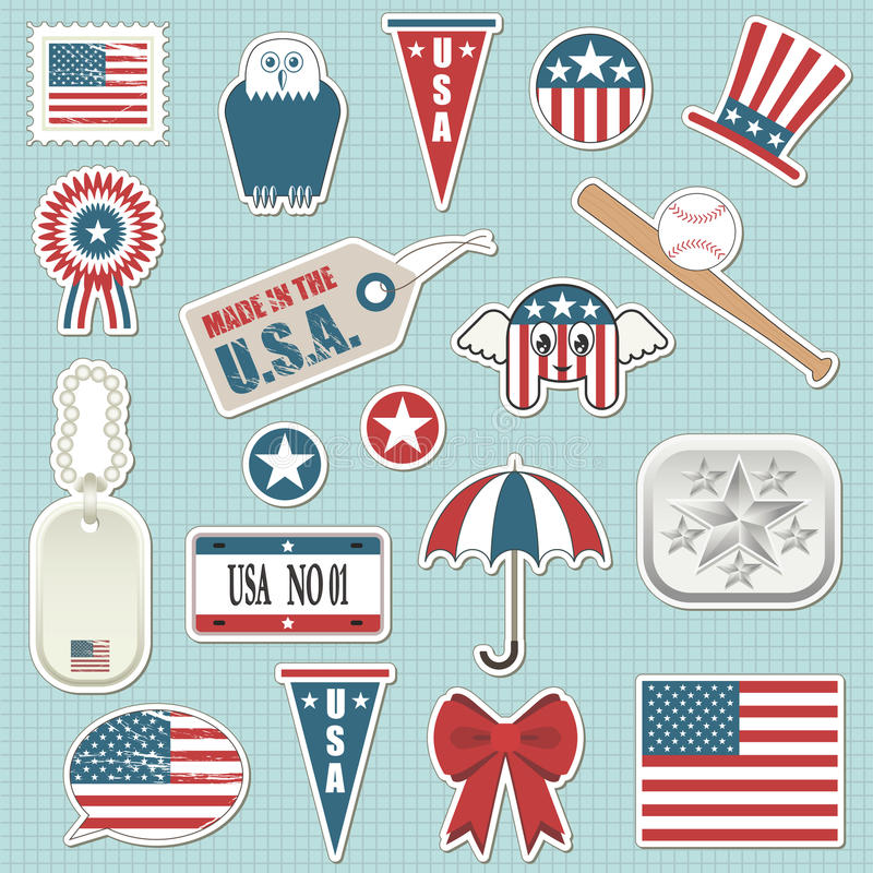 Amerikaanse stickers stock illustratie