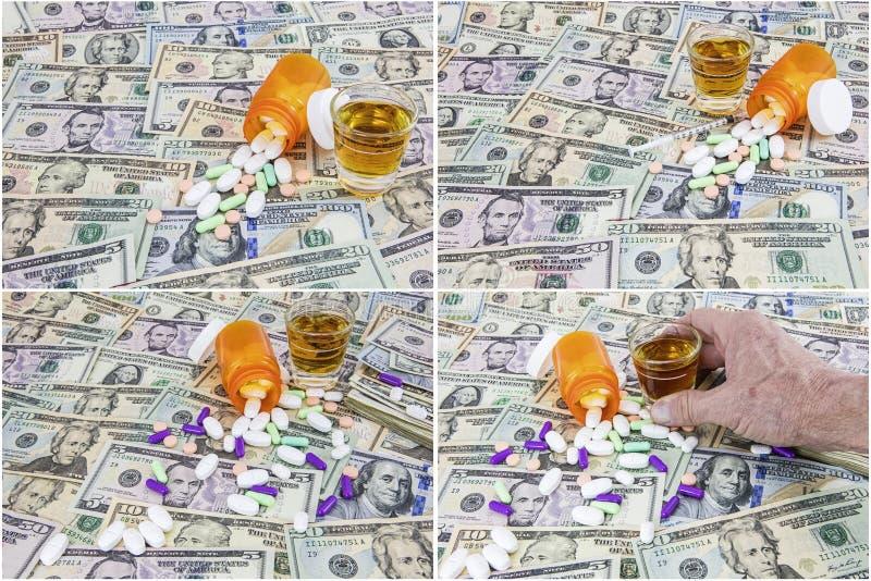 Amerikaanse van van het achtergrond geldcontante geld de sterke drankcollage drugsalocohol stock foto's