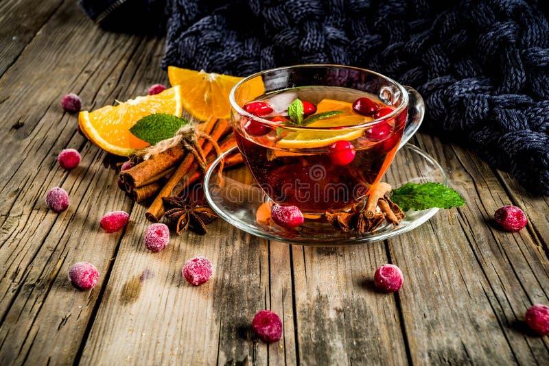 Amerikaanse veenbes kruidige thee stock foto's