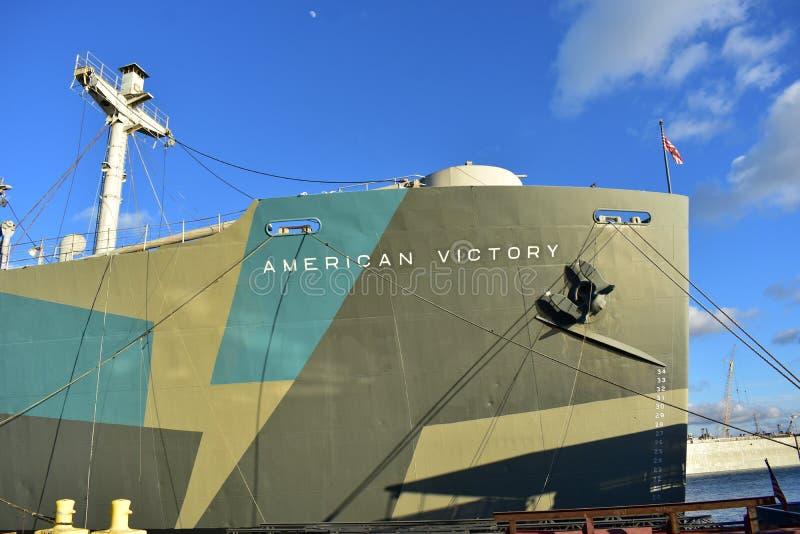 Amerikaanse Victory Ship Aft Deck royalty-vrije stock fotografie