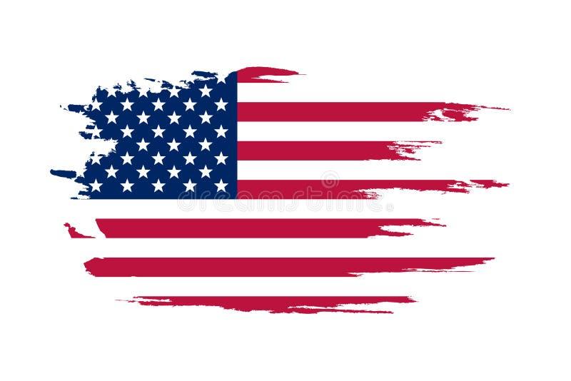 Amerikaanse Vlag Borstel geschilderde vlag van de V.S. Hand getrokken stijlillustratie met een een grungeeffect en waterverf Amer royalty-vrije illustratie