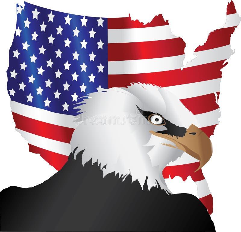Amerikaanse vlag en adelaar royalty-vrije illustratie