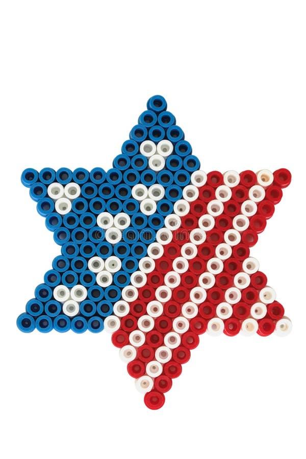 Amerikaanse vlag en de Joodse ster van David stock foto's