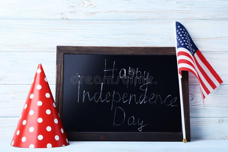Amerikaanse vlag en houten kader royalty-vrije stock foto