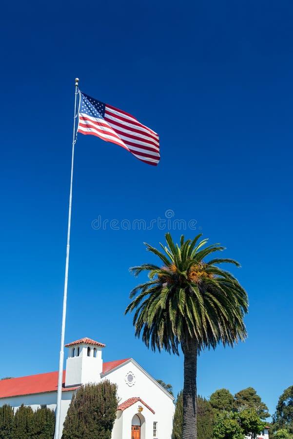 Amerikaanse Vlag en Palm royalty-vrije stock foto's