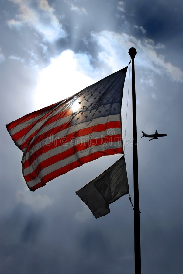 Amerikaanse Vlag en pow-MIA stock afbeelding