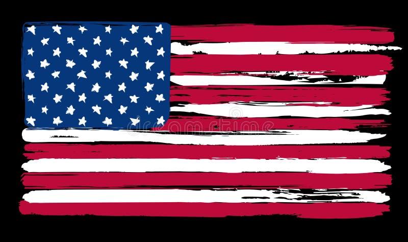 Amerikaanse Vlag in het schilderen borstelstijl stock illustratie
