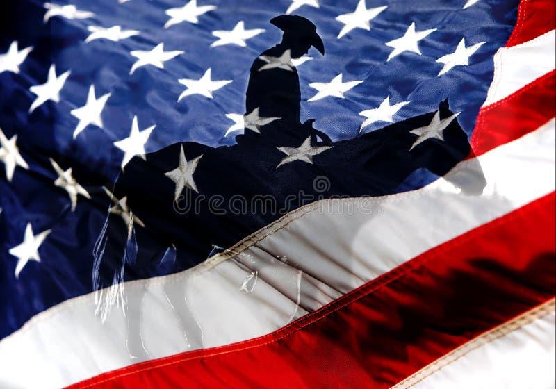 Amerikaanse Vlag met Amerikaanse Cowboy royalty-vrije stock afbeeldingen