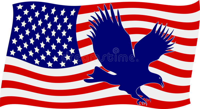 Amerikaanse Vlag met Kale Adelaar royalty-vrije illustratie