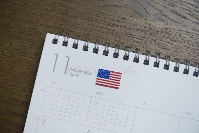 Amerikaanse Vlag op de Kalender van November 2019 royalty-vrije stock foto