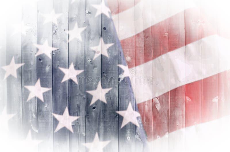 Amerikaanse Vlag op Hout royalty-vrije stock foto