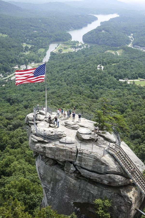 Amerikaanse Vlag op Schoorsteenrots stock afbeeldingen