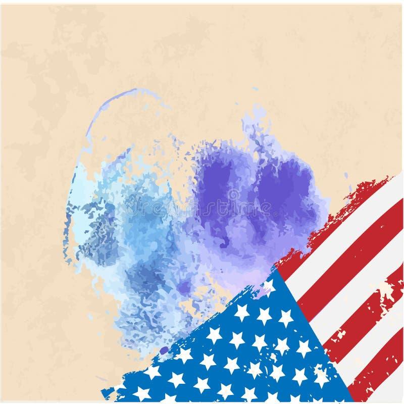 Amerikaanse Vlag Waterverf Vectorbeeld van Amerikaanse Vlag royalty-vrije illustratie