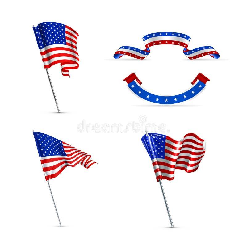 Amerikaanse vlaggen royalty-vrije illustratie