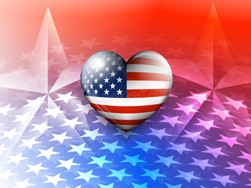 Amerikaanse Vlaghart en van Sterrenamerika Achtergrond royalty-vrije illustratie