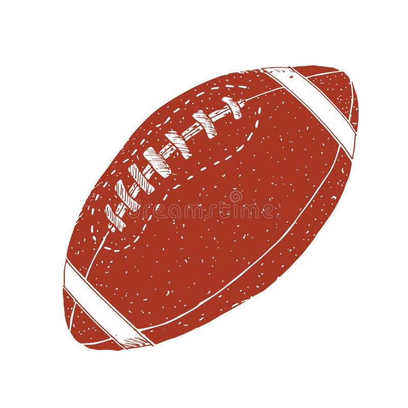 Amerikaanse voetbal, de getrokken grunge geweven schets van de rugbybal hand, vectorillustratie op witte achtergrond royalty-vrije illustratie