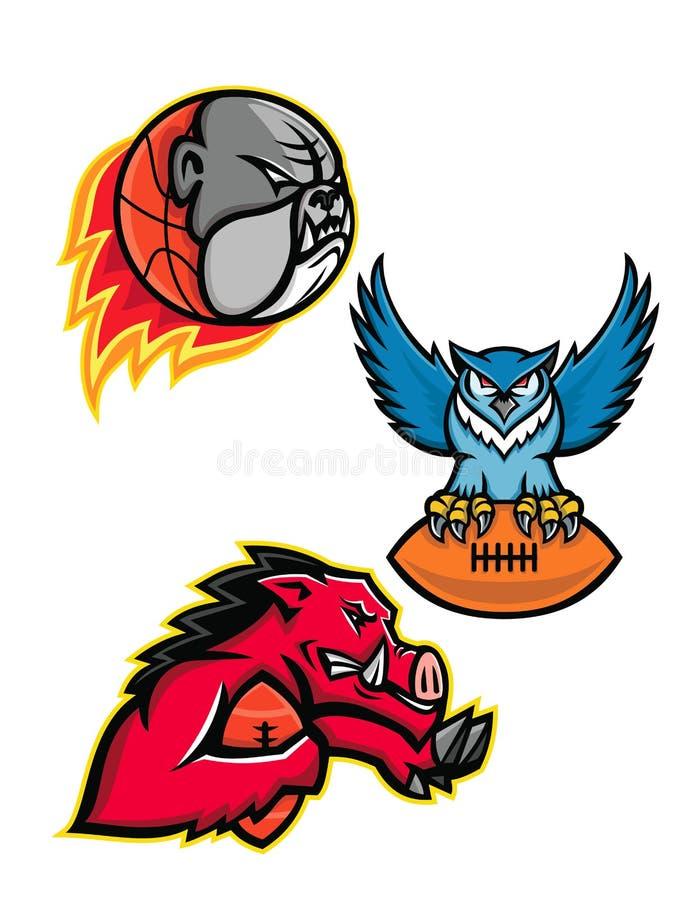 Amerikaanse Voetbal en Basketbal de Mascotteinzameling van het Wildsporten royalty-vrije illustratie