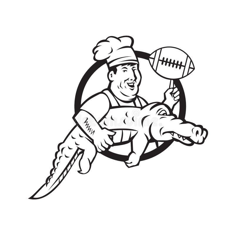 Amerikaanse Voetbalchef-kok Gator Mascot Circle stock illustratie