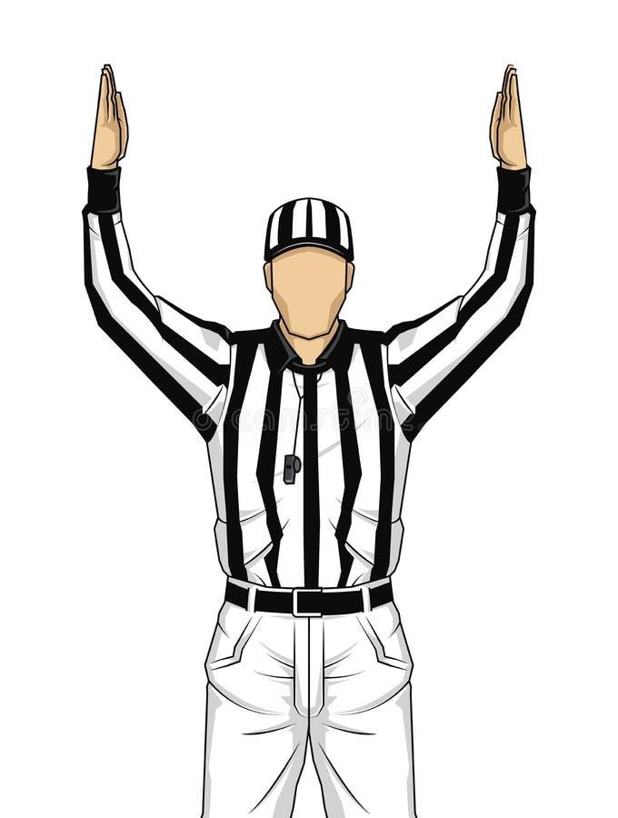 Amerikaanse voetbalscheidsrechter met beide handen omhoog als touchdown vect stock illustratie