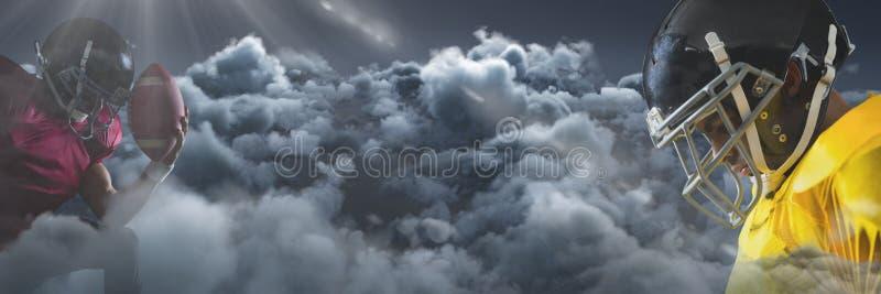 Amerikaanse voetbalsters die neer in wolken kijken royalty-vrije stock afbeelding