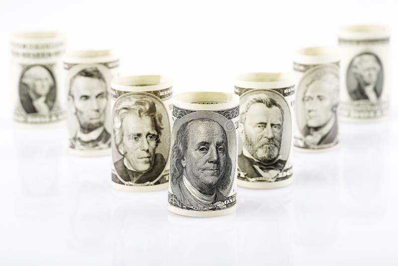 Amerikaanse voorzitters op bankbiljetten stock afbeelding