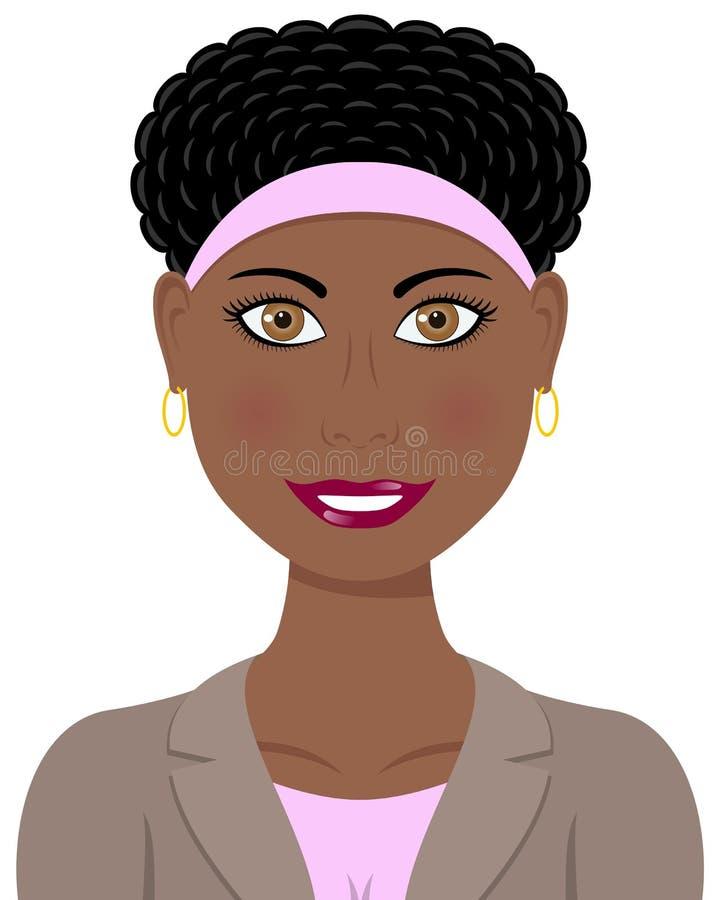 Amerikaanse Vrouw de bedrijfs van Afro stock illustratie