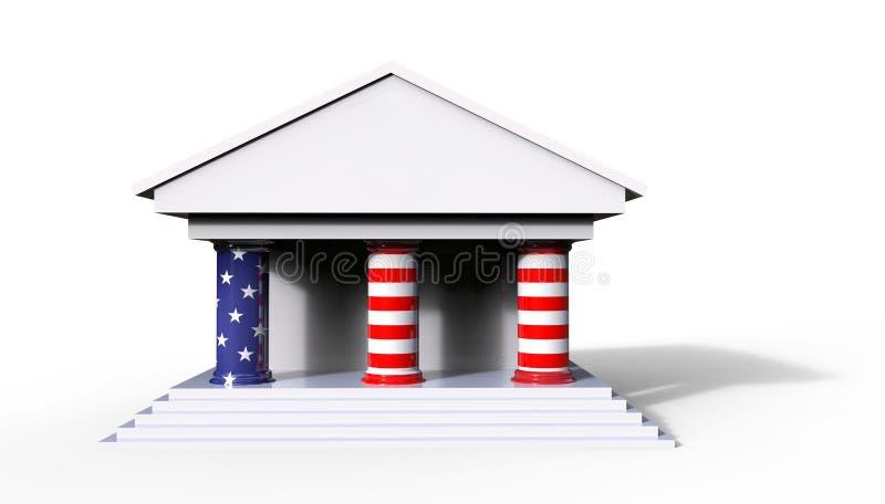 Amerikaanse Wet en Hof Concepten 3D Illustratie met witte backgr stock illustratie