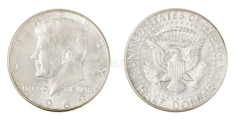 Amerikaanse Zilveren Halve Dollar JFK Liberty Coin stock foto