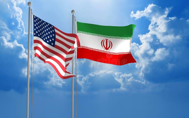 Amerikan- och iranierflaggor som tillsammans flyger för diplomatiska samtal royaltyfri fotografi