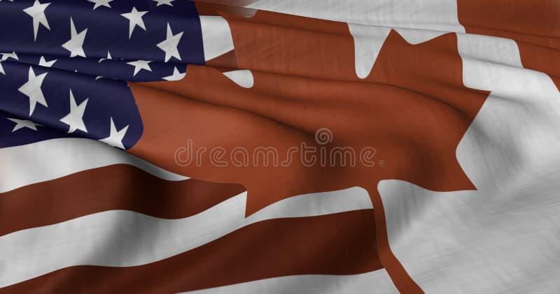 Amerikan och kanadensisk flagga royaltyfri illustrationer