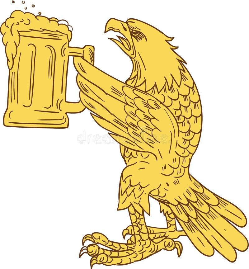 Amerikan skalliga Eagle Beer Stein Drawing stock illustrationer